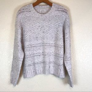 Lucky brand white speckled open knit sweater
